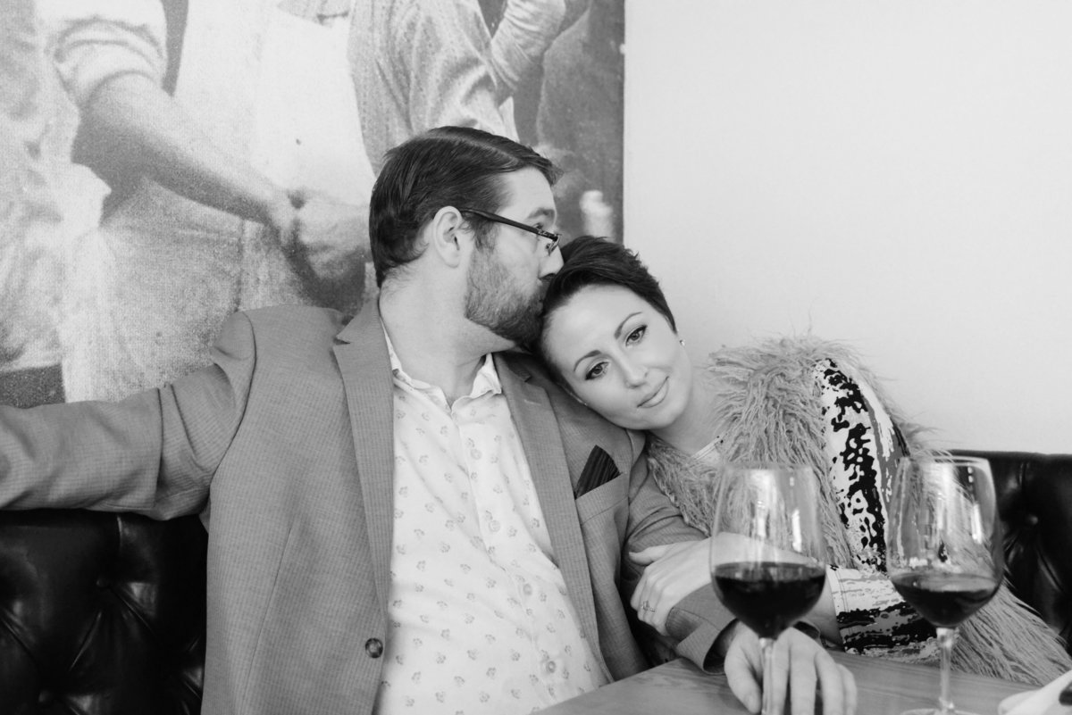 engagement-wine bar-black and white
