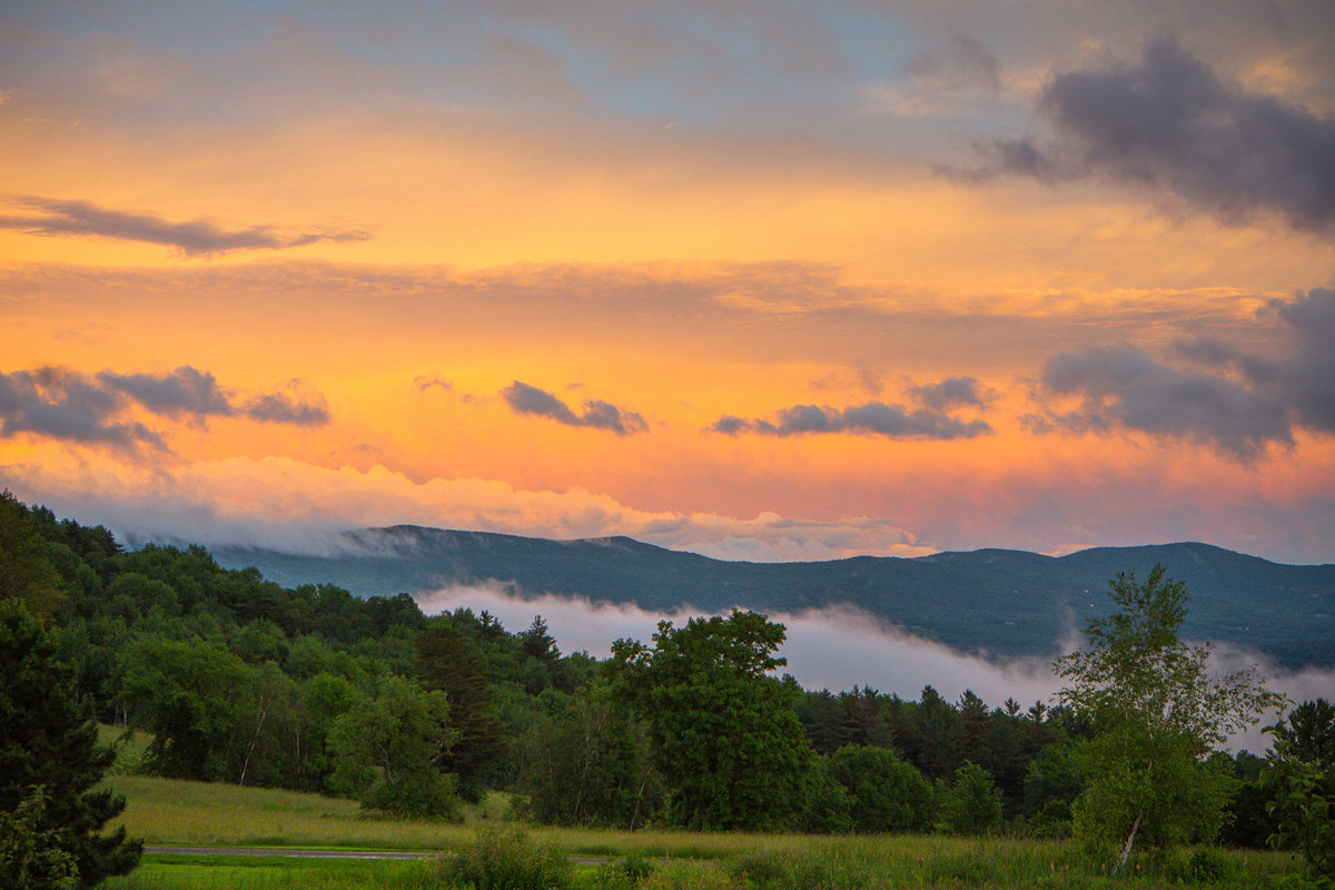 vermont summer sunset, vermont mountains