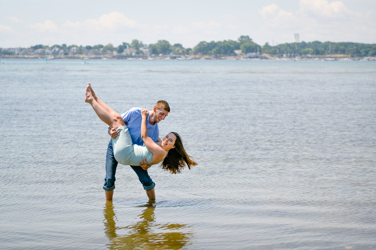 Massachusetts engagement session at beach