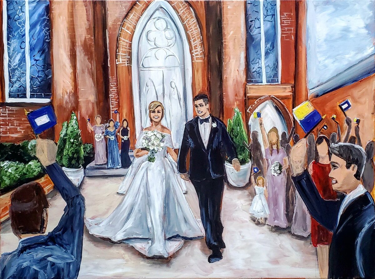 Live painting of a bride and groom exiting St. Marys Church in Annapolis Maryland