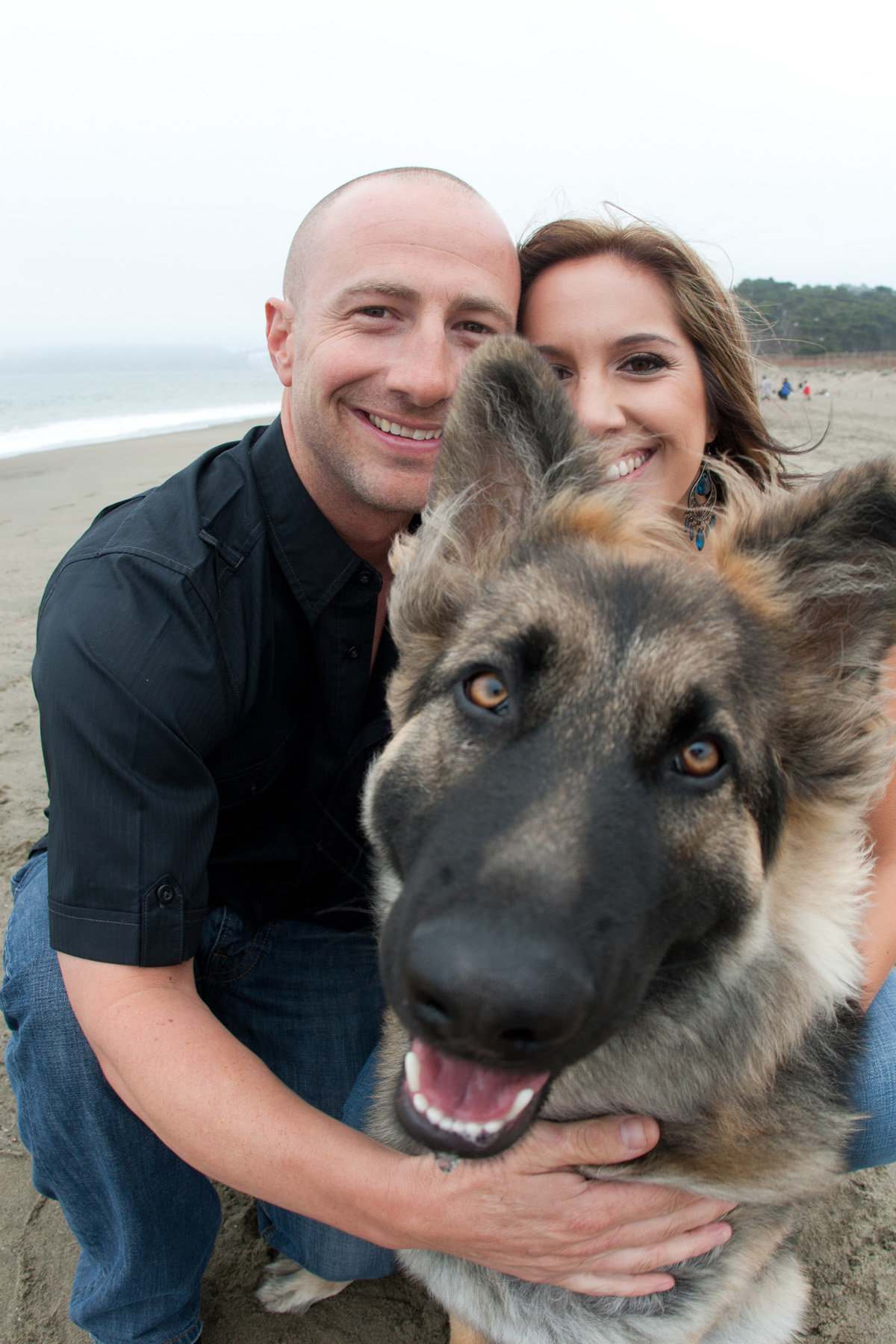 engagement session beach with dog