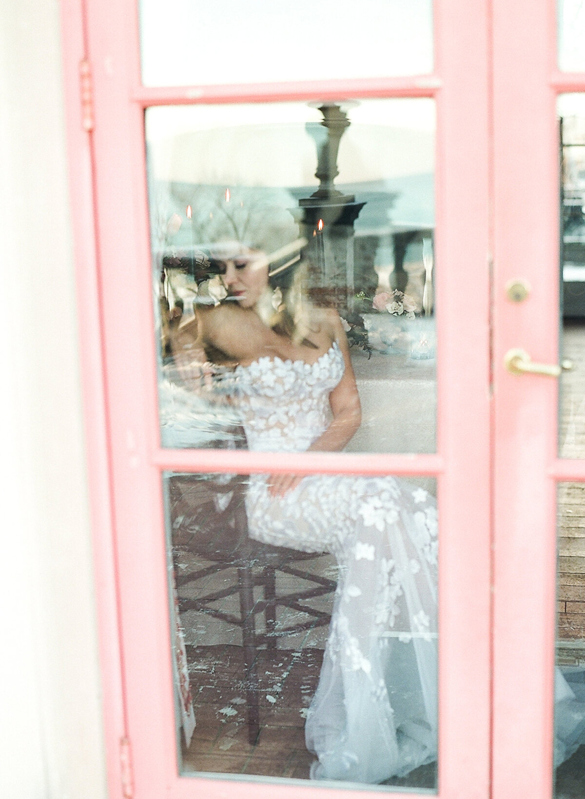 Bride sitting at a reception table