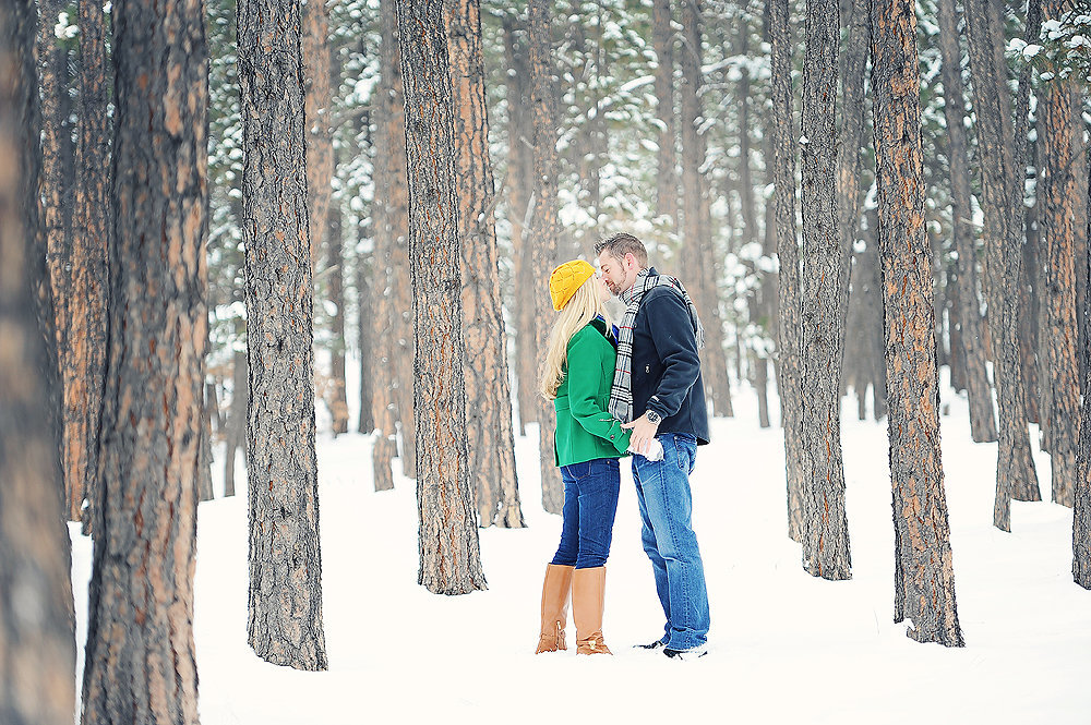 Engagement photos in Winter Forest
