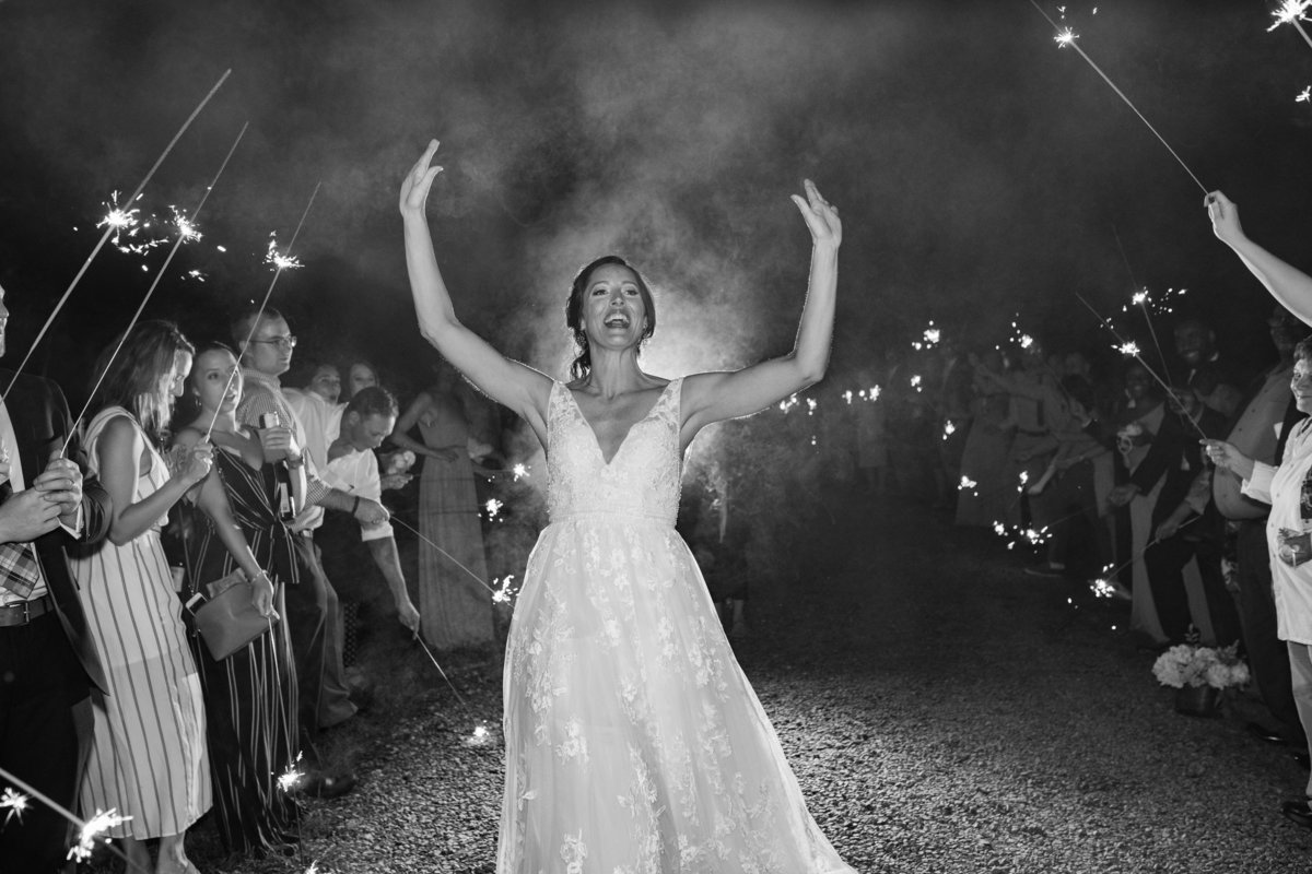 bride happy sparkler exit