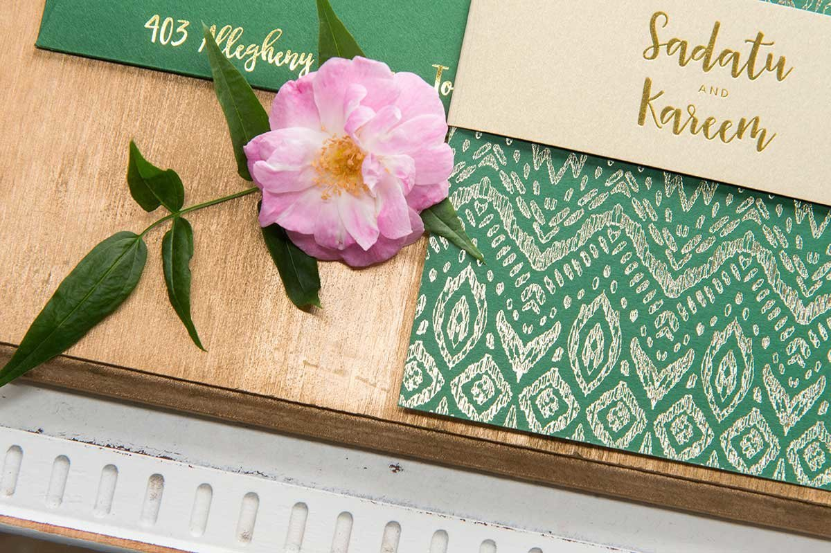 Sadatu-InvitationDetail-GreenGoldFoil-GlenviewMansion