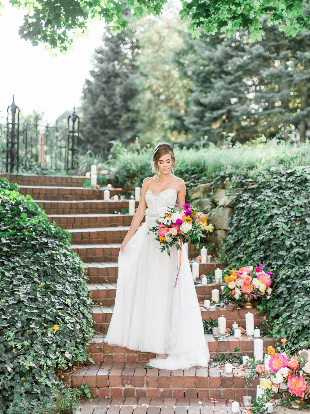 Whimsical Summer Wedding Styled Shoot at Henderson Castle Featured in WeddingDay Magazine Bride on Staircase