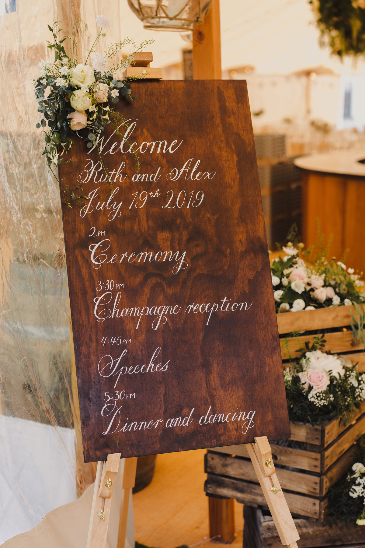 Welcome and order of the day wedding sign on wood | Jenni Liandu Calligraphy