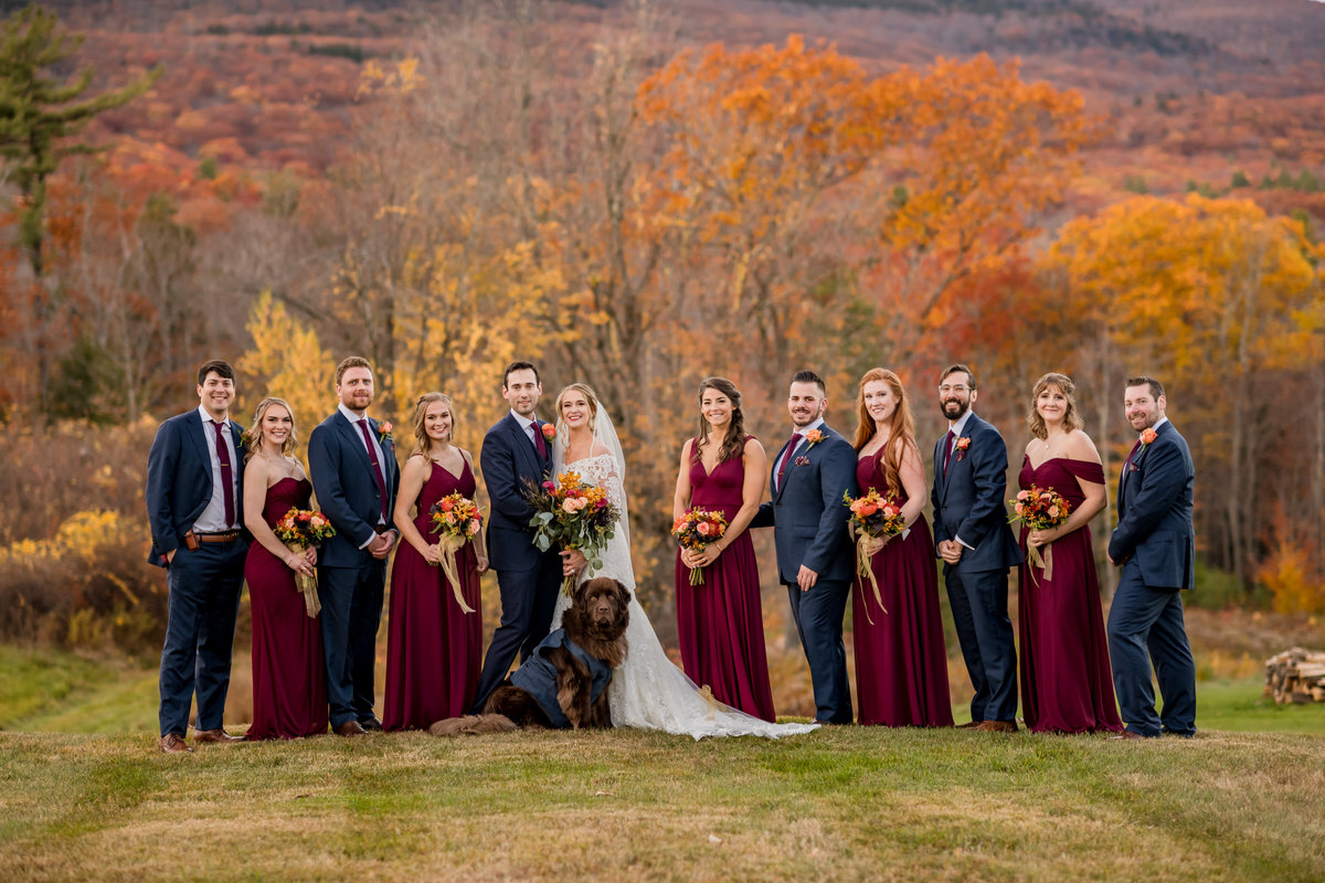wedding party photo with dog