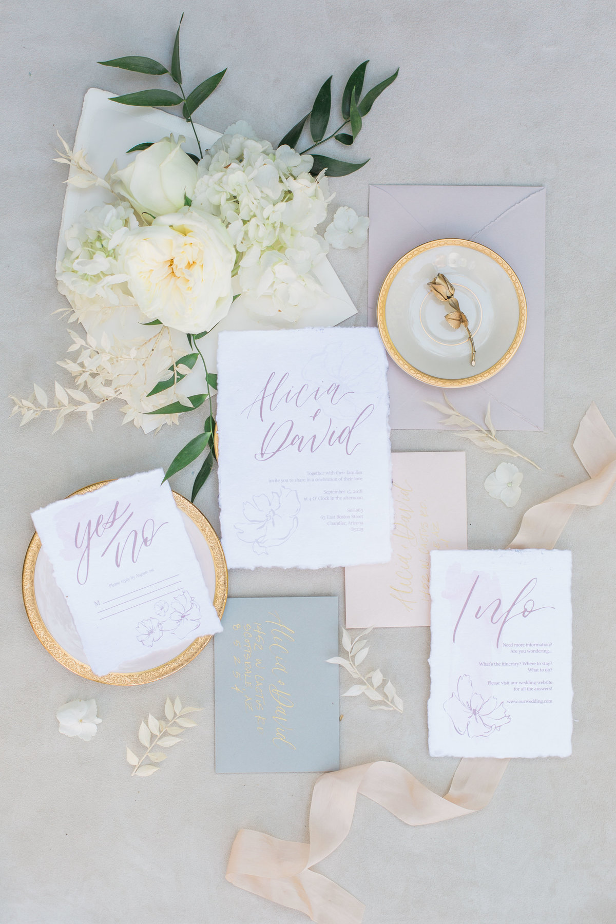 invitation suite and wedding details