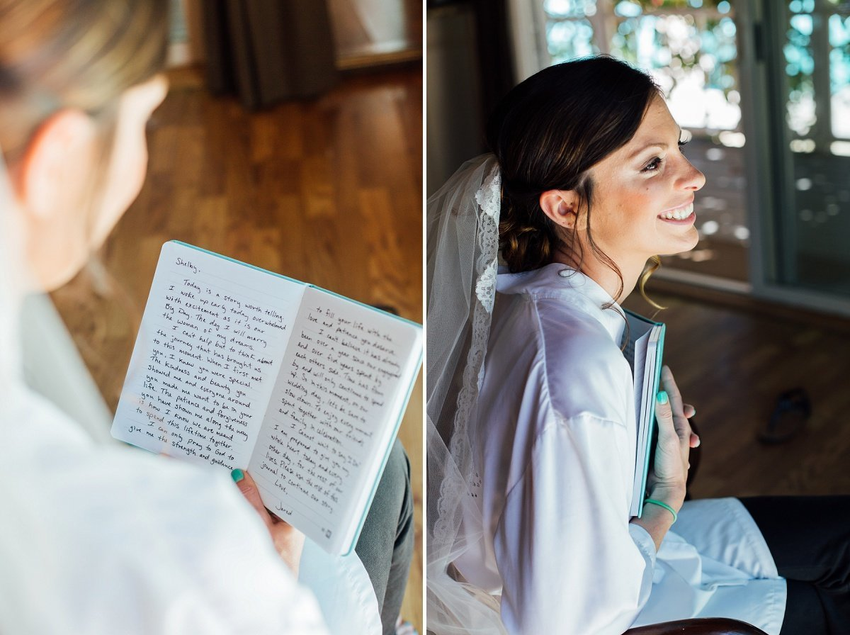Orange County Wedding Photographer reading love letters Wedding Preperation by Three16 Photography