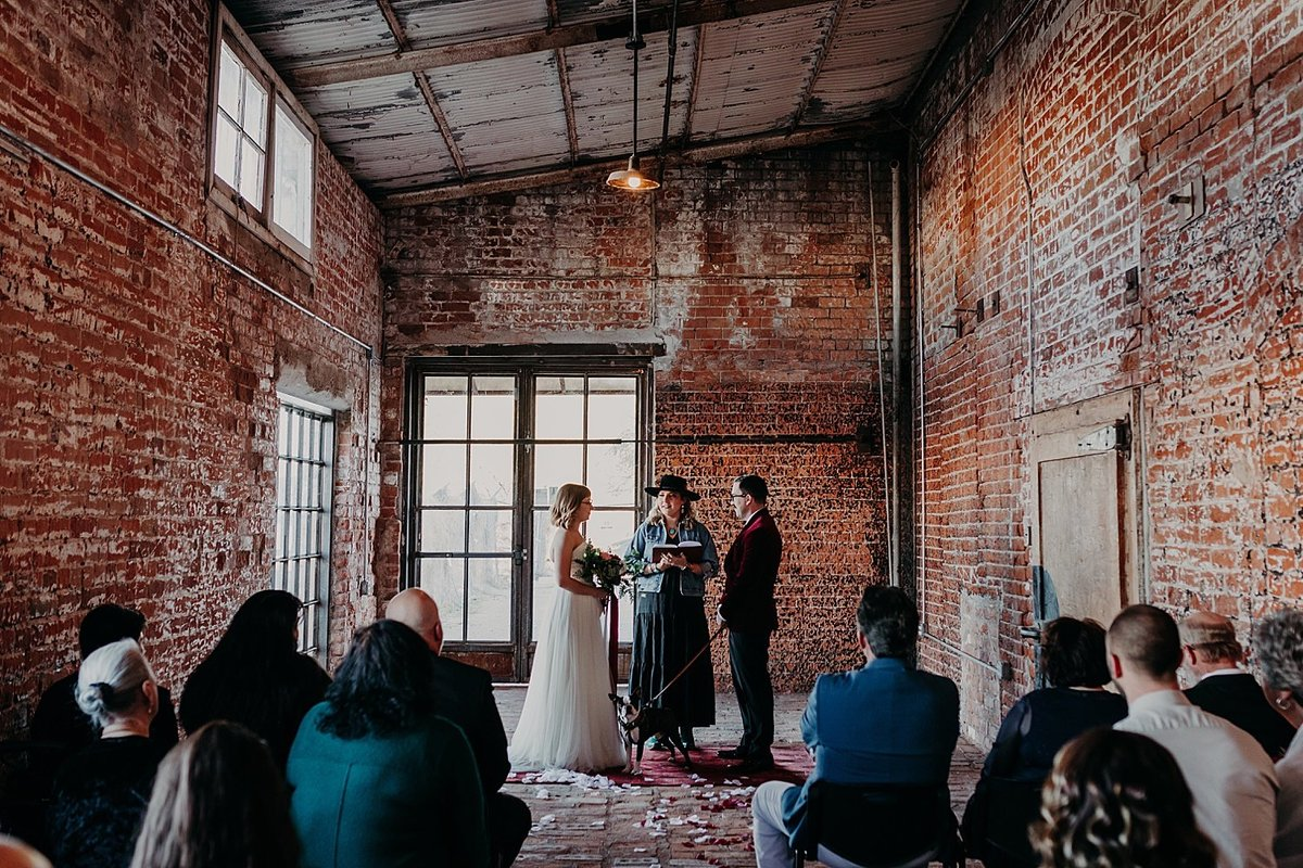 Industrial wedding ceremony with bride and groom in Tucson Arizona