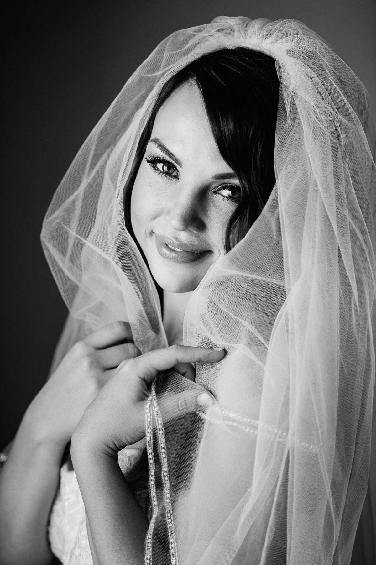 black and white portrait of bride by stephane lemaire photography