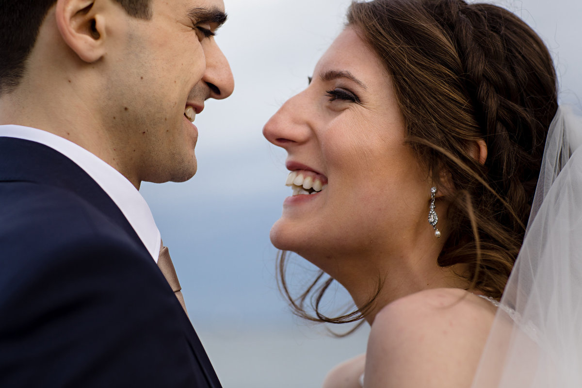 Portland Maine Wedding with the couple in close on the Eastern Promenade at their intimate celebration