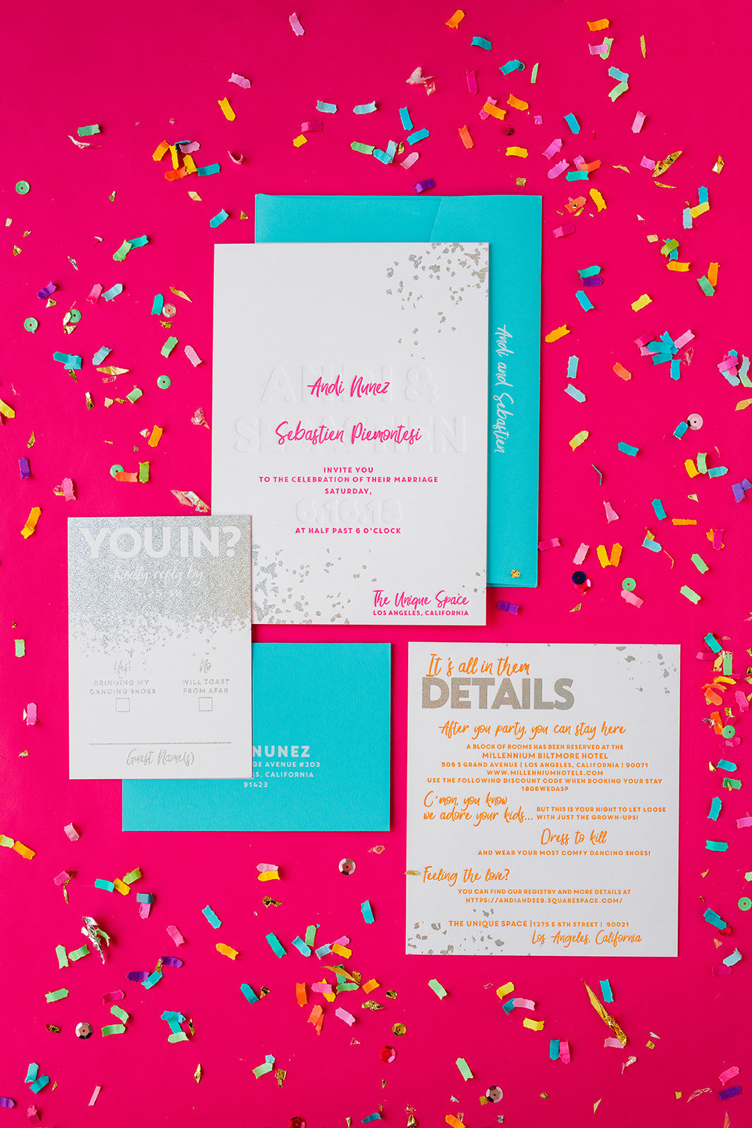 Colorful wedding invitation suite with neon pink and blue