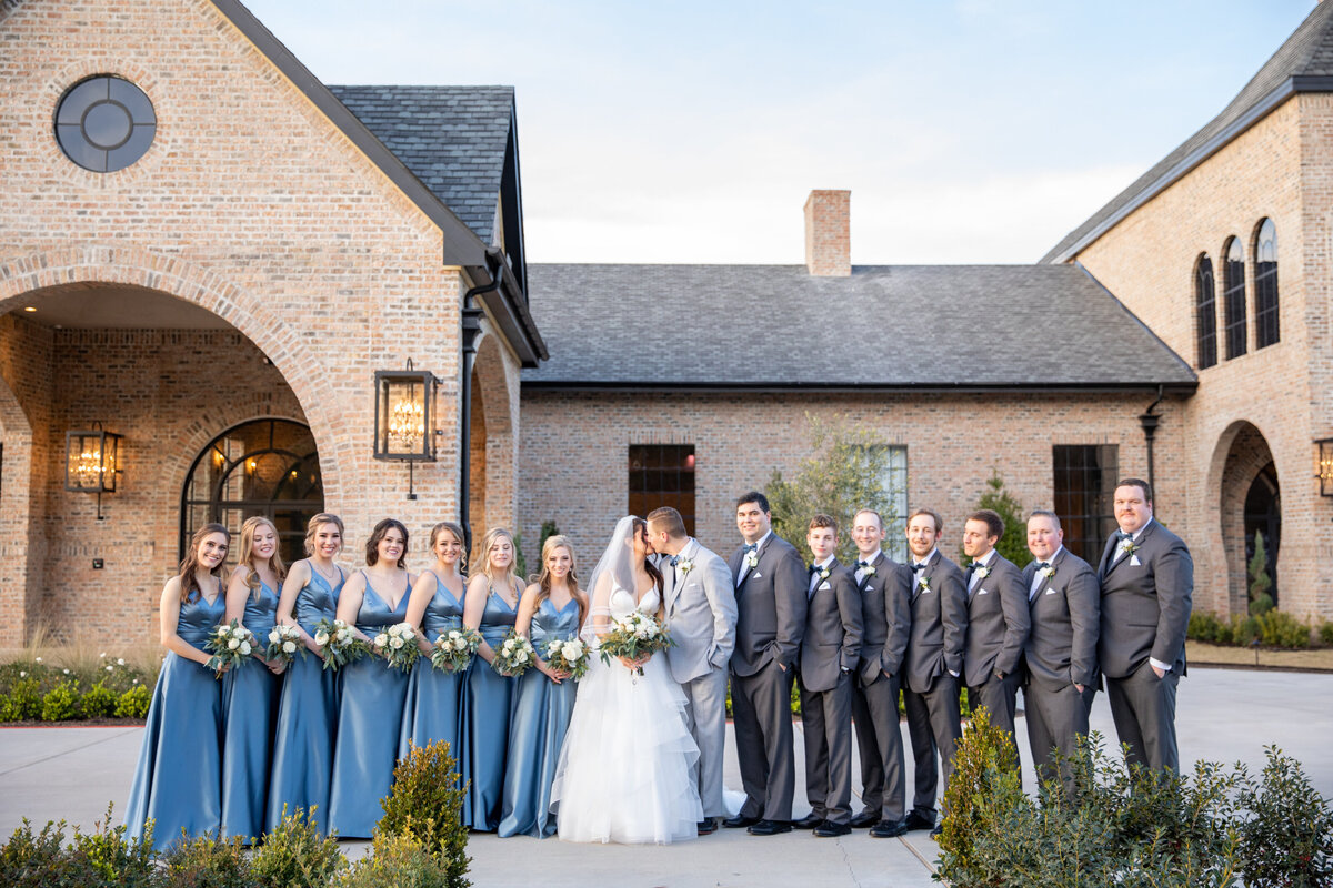 Classic Wedding Party Portrait Outside Iron Manor