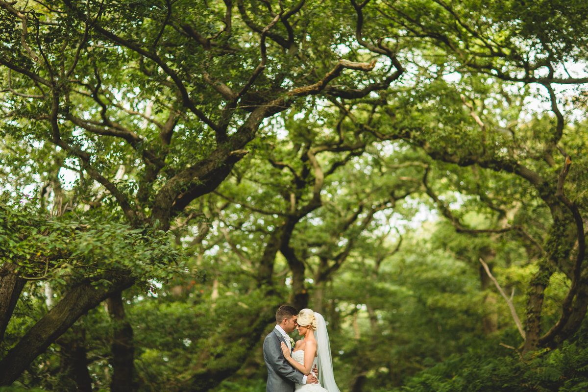 the woods at peckforton castle provide a great background for wedding photographs