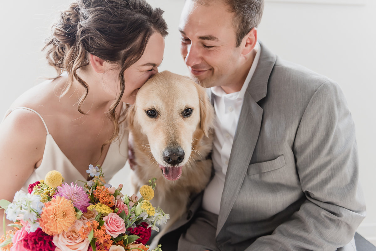 colorful college for creative studies wedding in detroit with their dog by kari dawson photography