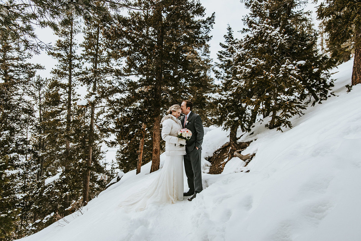 winter cuddles on the trail at Sapphire Point overlook in Breckenridge, CO