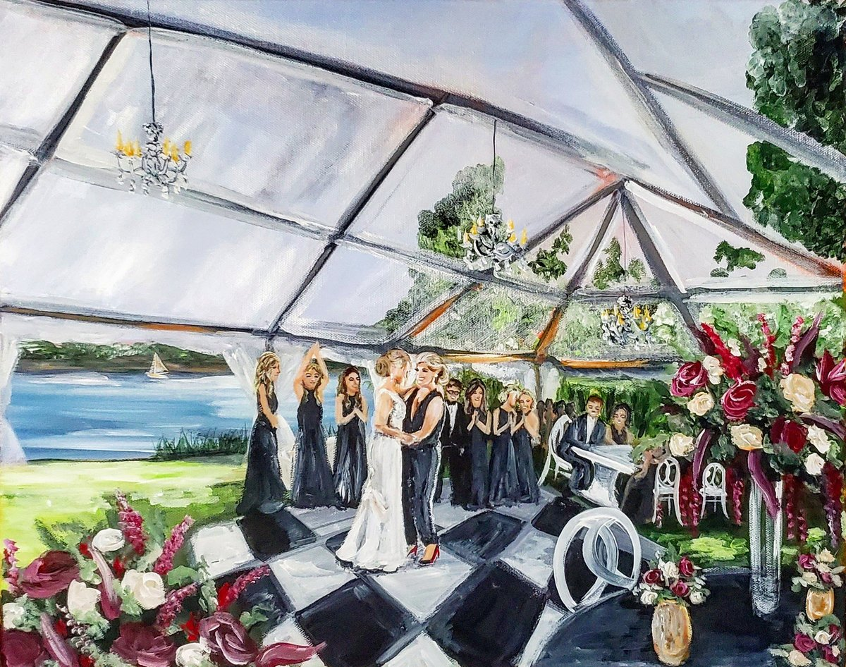 Live wedding painting of two brides sharing their first dance on the Chesapeake Bay in Queenstown Maryland