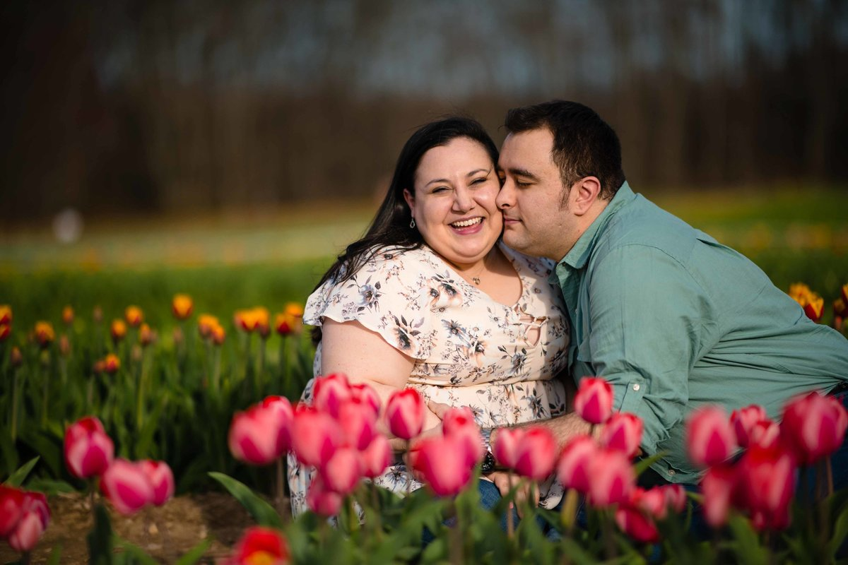 26 flower garden engagement session at wicked tulips rhode island