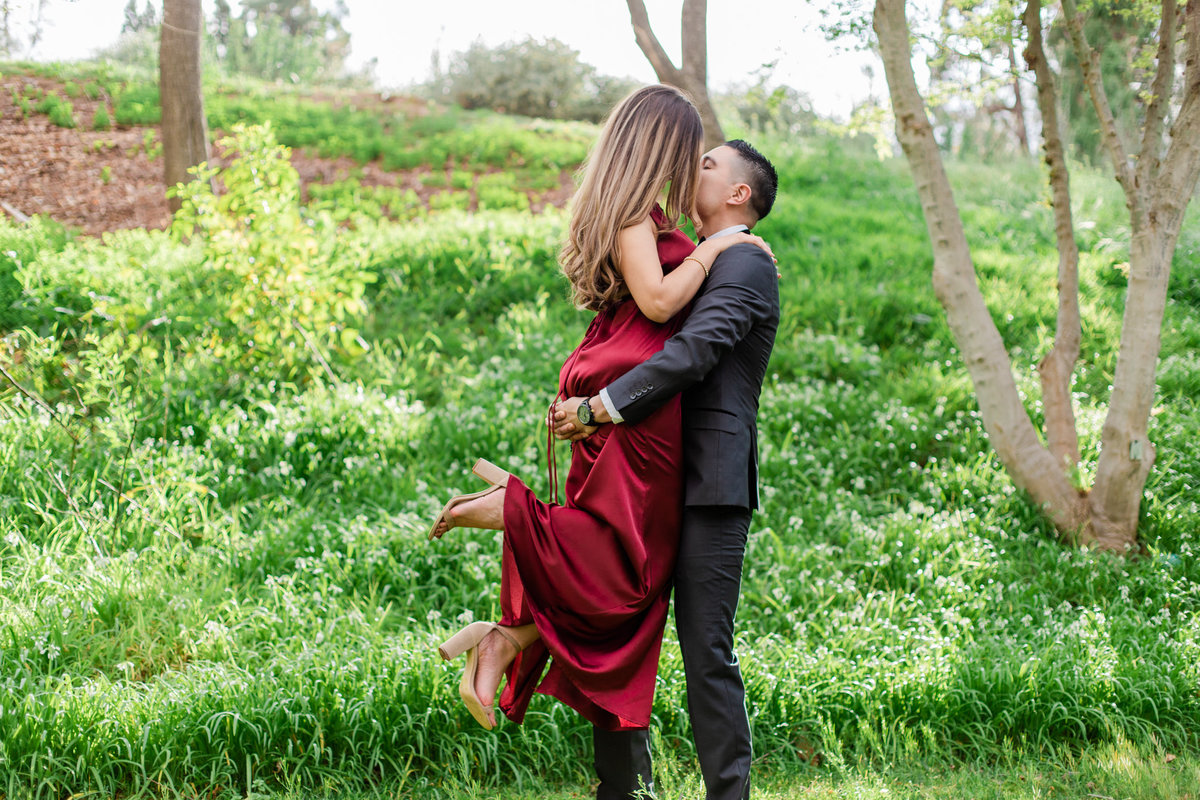UC Riverside Botanical Gardens, Engagement Photography, Riverside Phototgrapher, Garden Engagement, Couple Photography, Red Dress-28