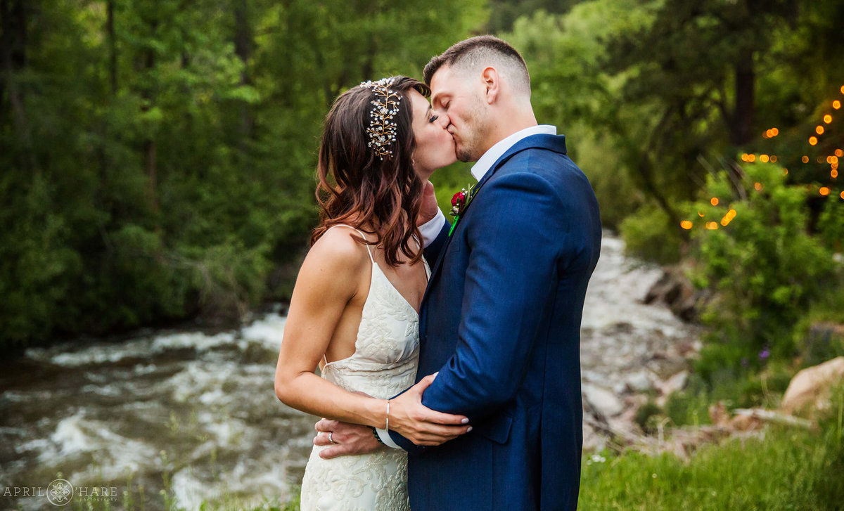 Romantic riverside wedding portrait at Wedgewood Weddings on Boulder Creek