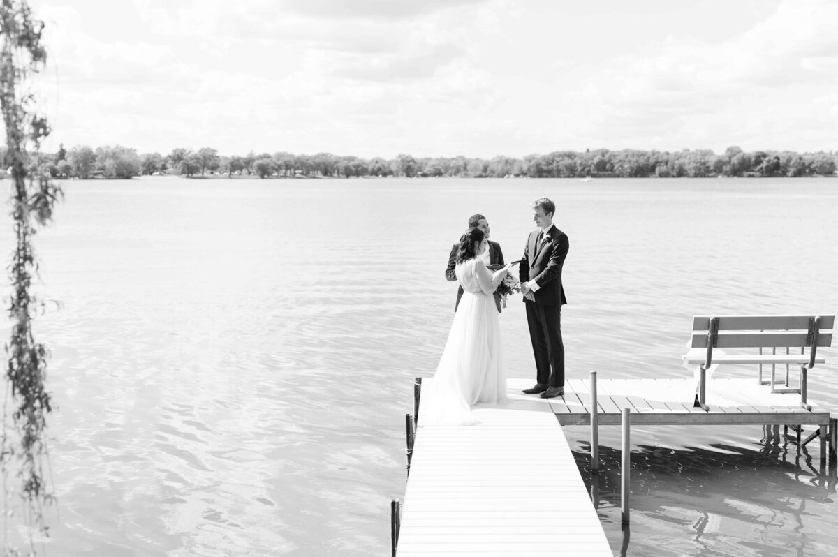 On the lake wedding ceremony