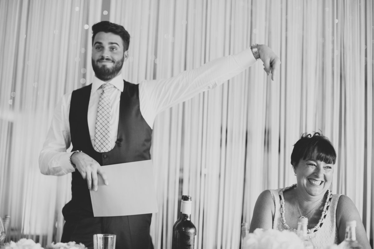 groom points at mother in speeches