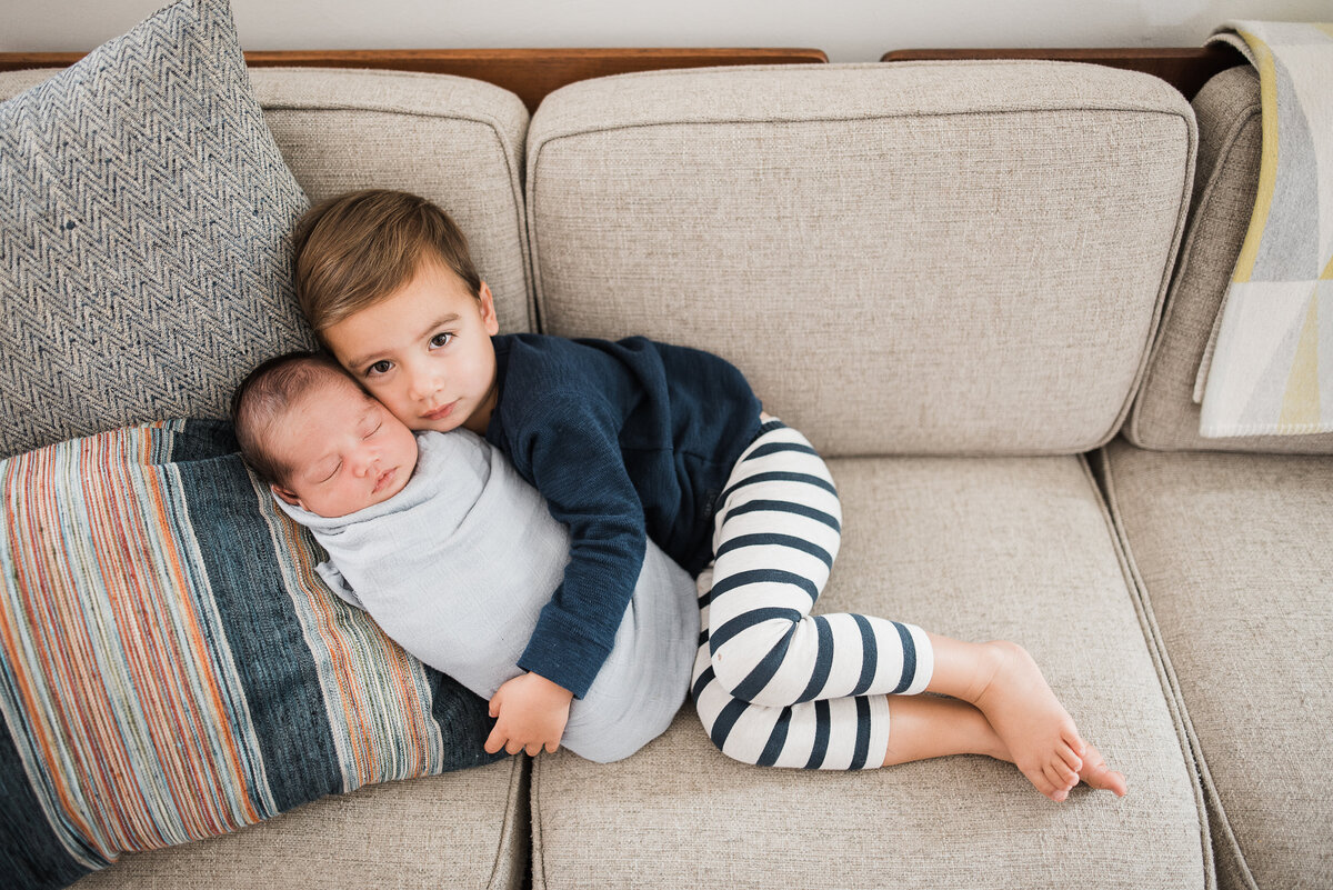 Big brother snuggles - San Diego Newborn Photographer