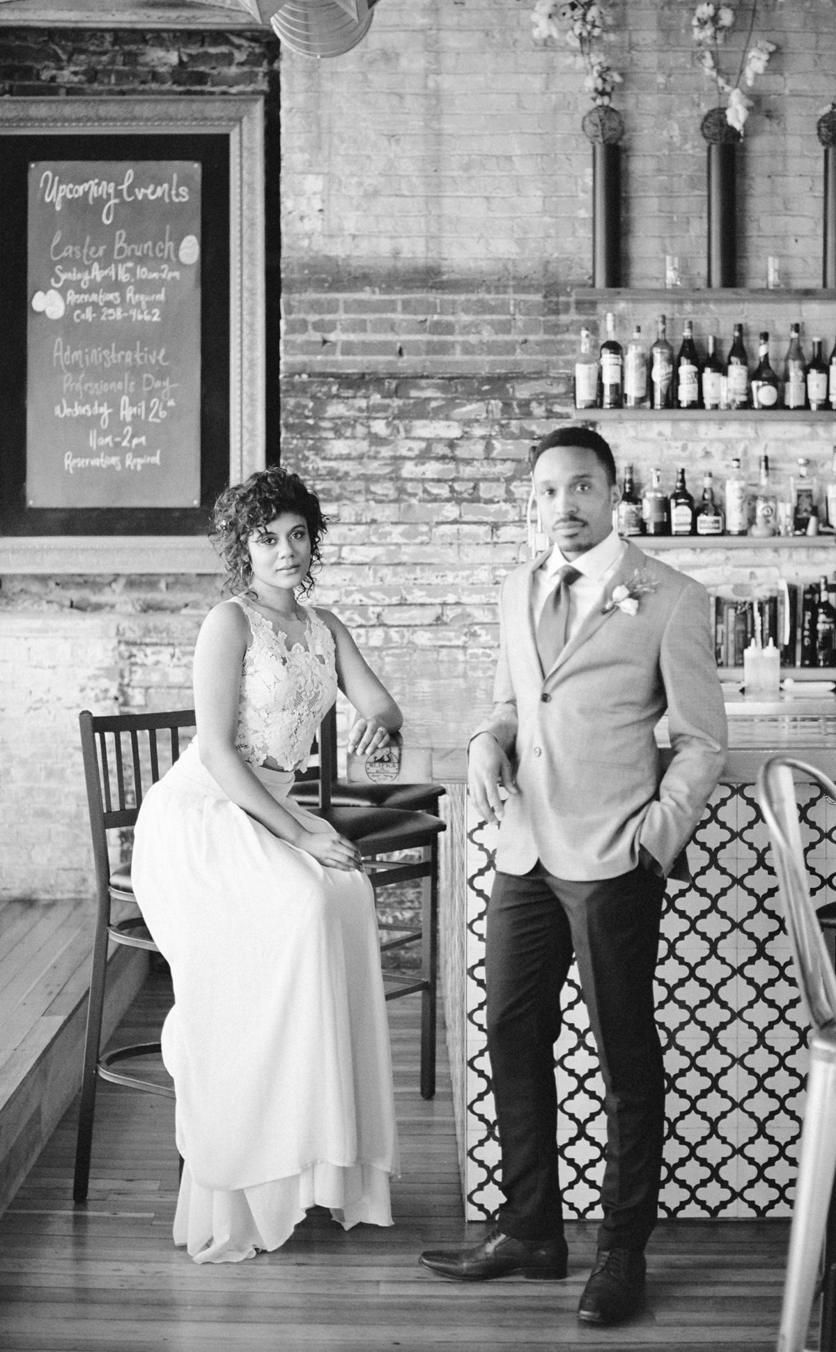 film photography bleu duck styled shoot with bride and groom in formal portraits at the bar