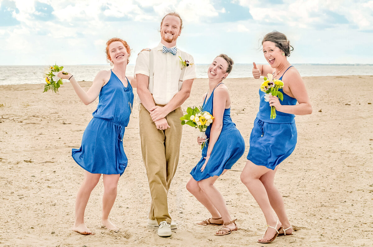 Bald Head Island Wedding Photography - Anna and Ray - Groom and Bridesmaids Fun Shot - Wilmington Photographers Team
