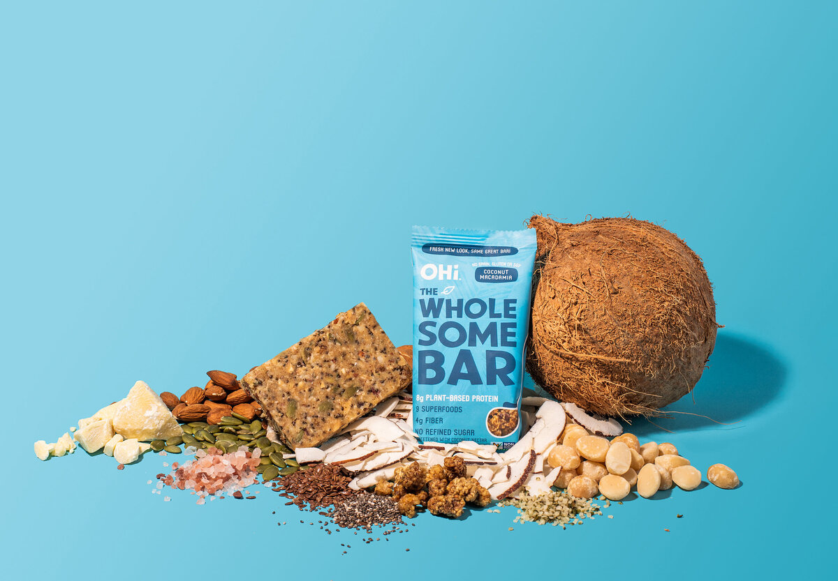 ingredient product shot for ohi wholesome bars coconut macadamia
