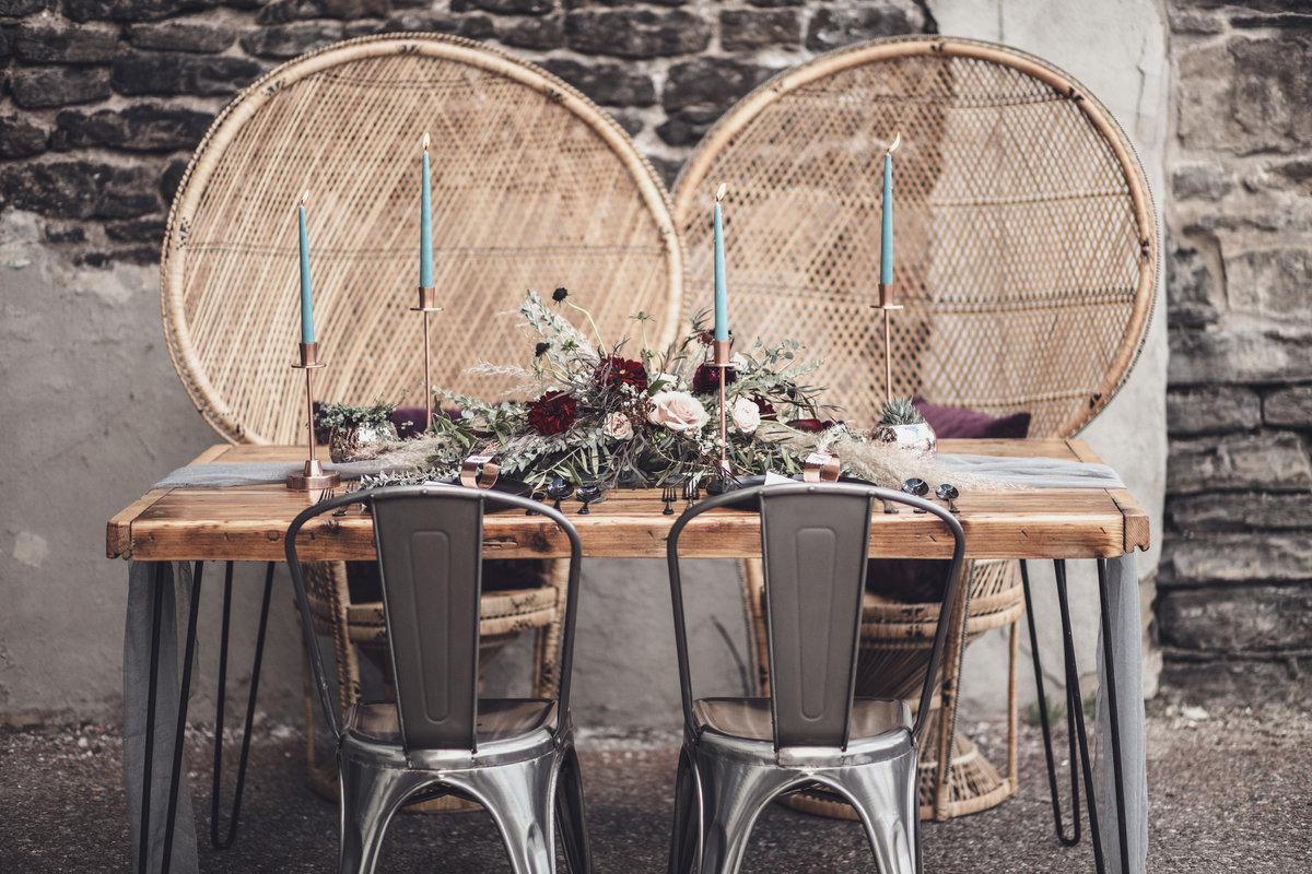 Modern Edgy Boho Wedding Table Inspiration - Rochester NY - Verve Event Co (1)