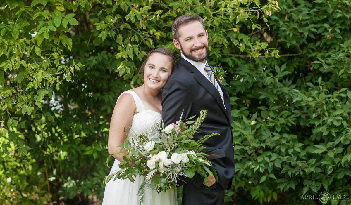 Denver Colorado Wedding Portrait with Greenery Backdrop at a Garden