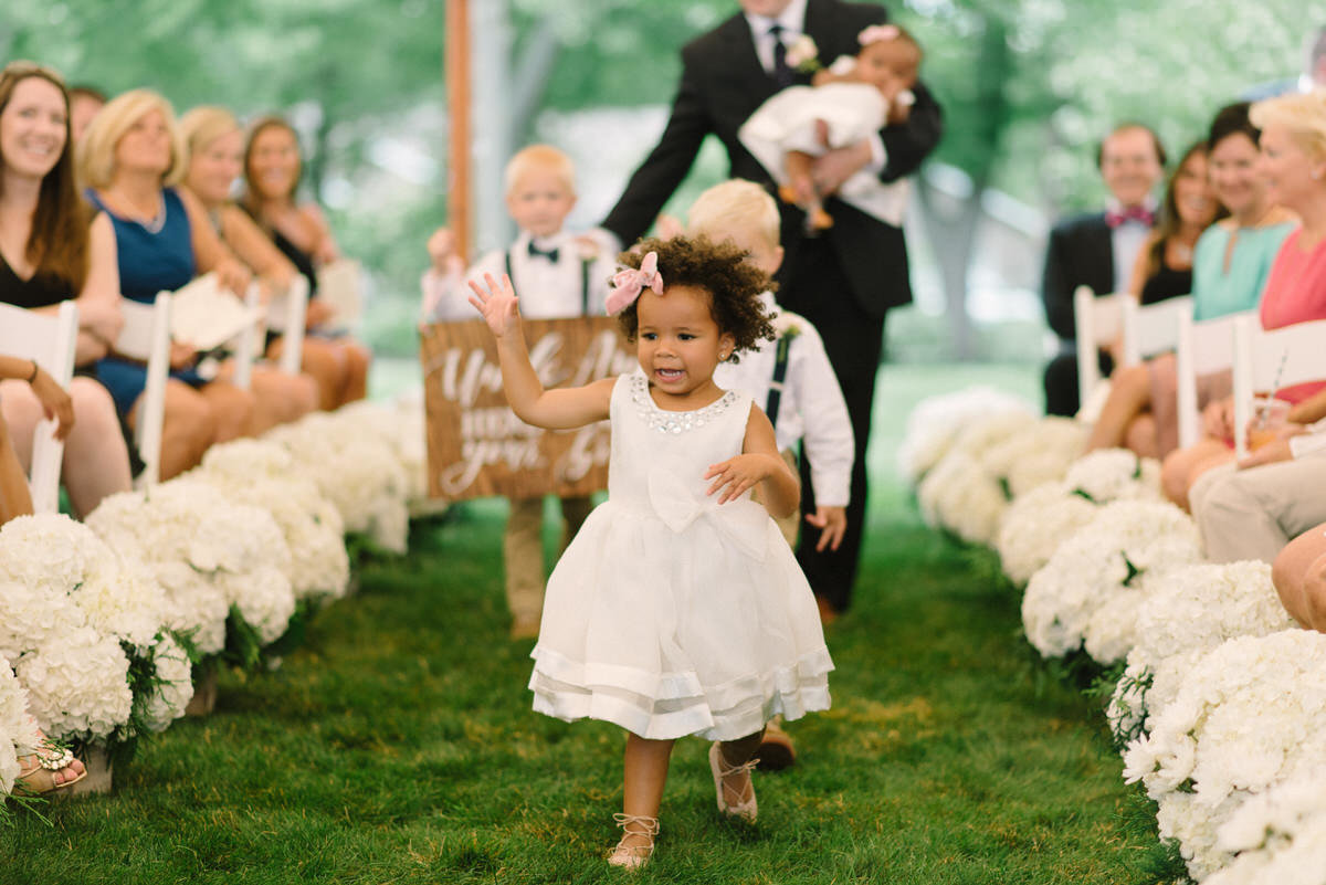 flower girl, private residence wedding, father of the bride wedding