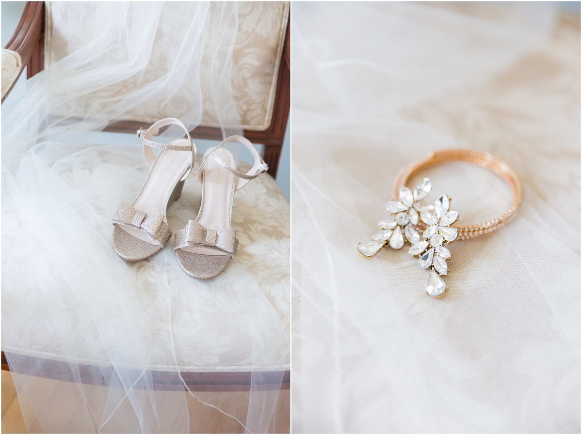 Kate spade gold bridal sandals with bow