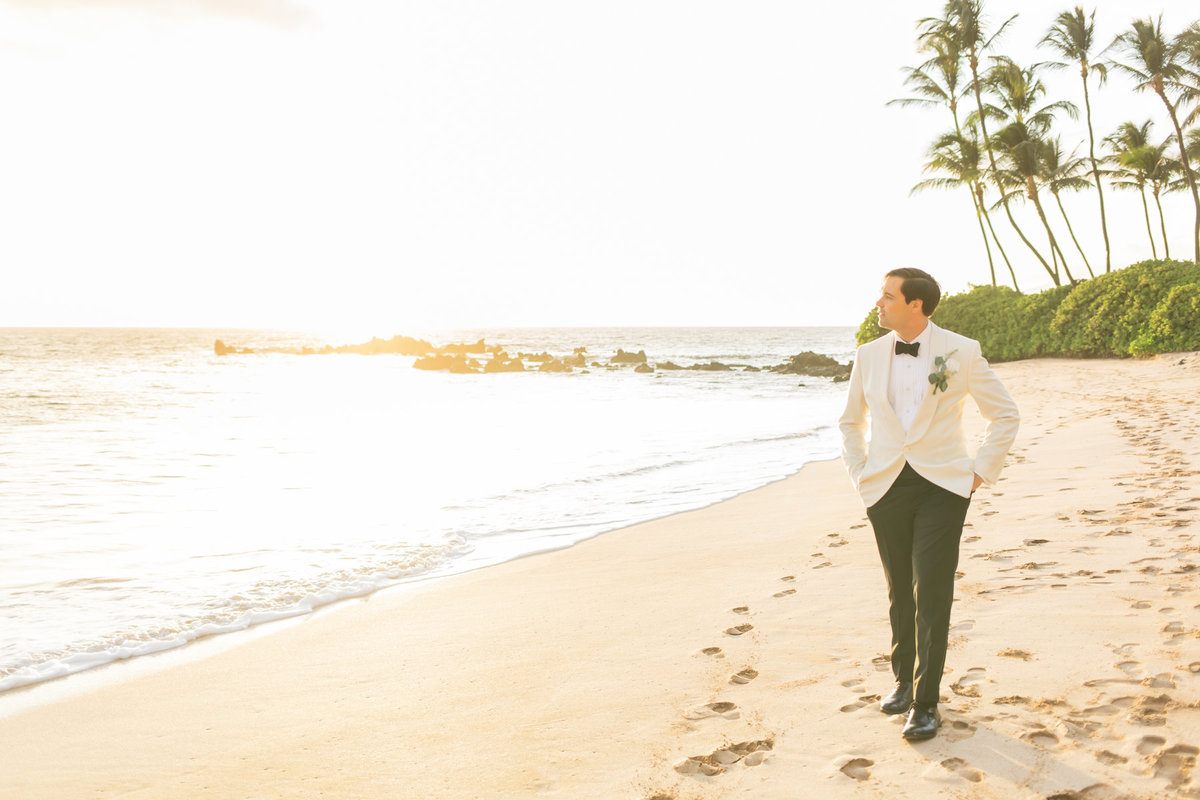 Maui venue wedding photography - groom - beach