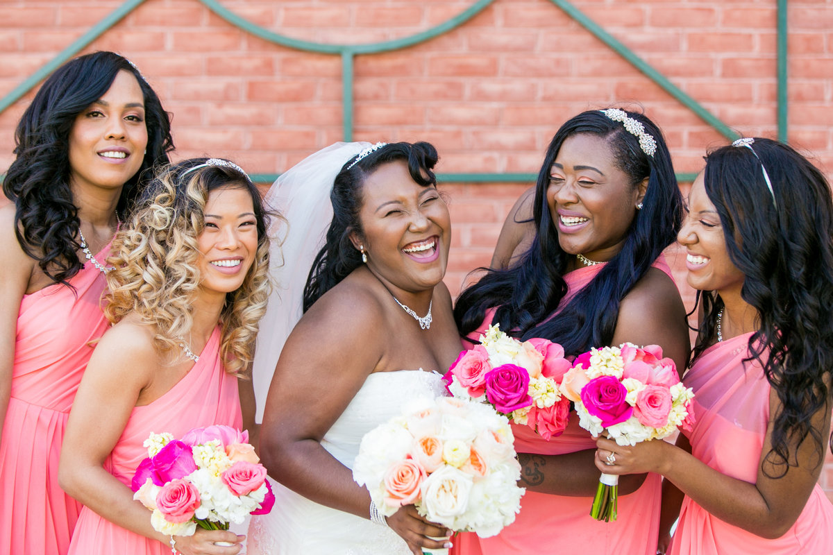 Baltimore Bridesmaids in Pink Dresses - Waters Edge Events Center