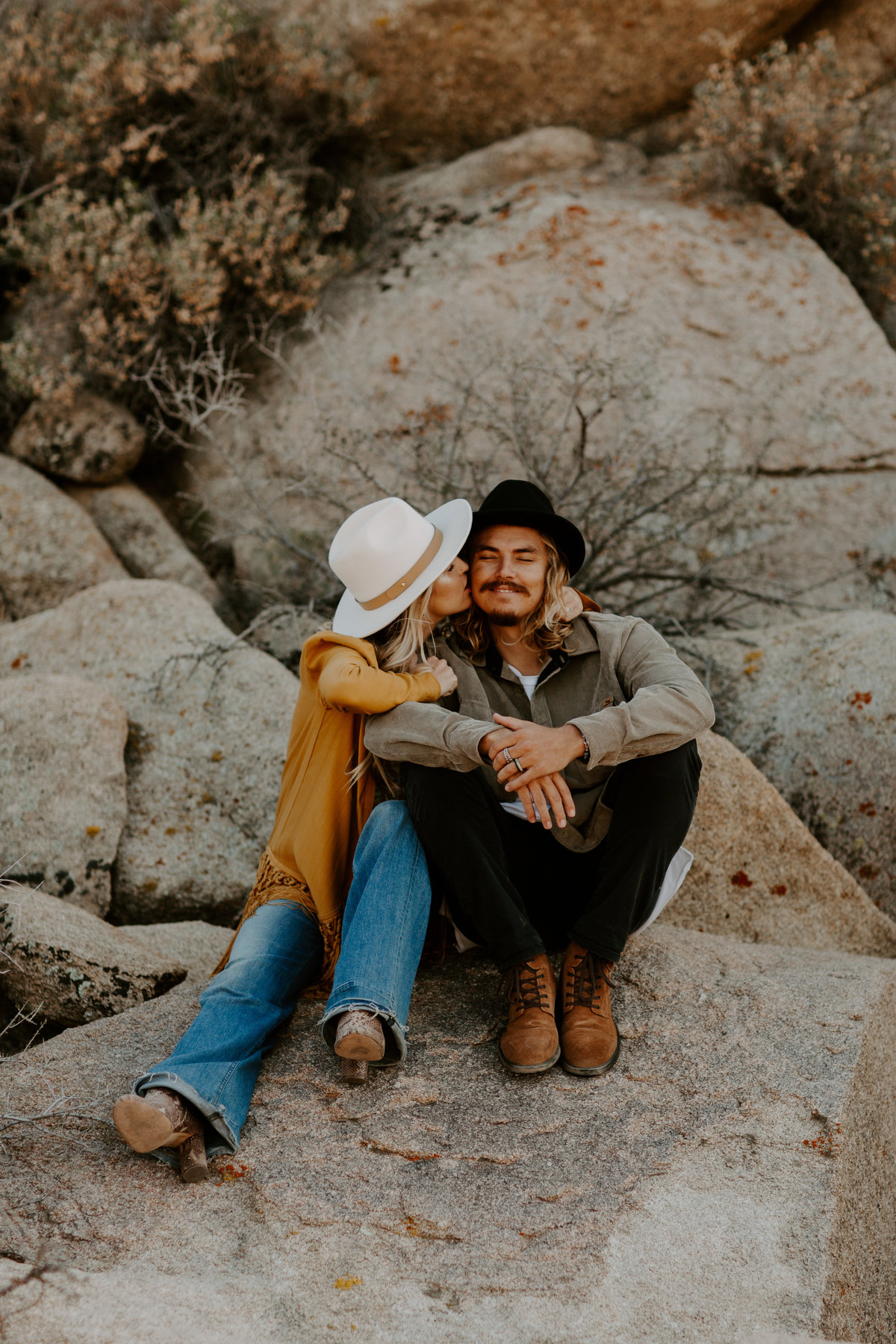 Cute indie engagement session in Joshua Tree National Park