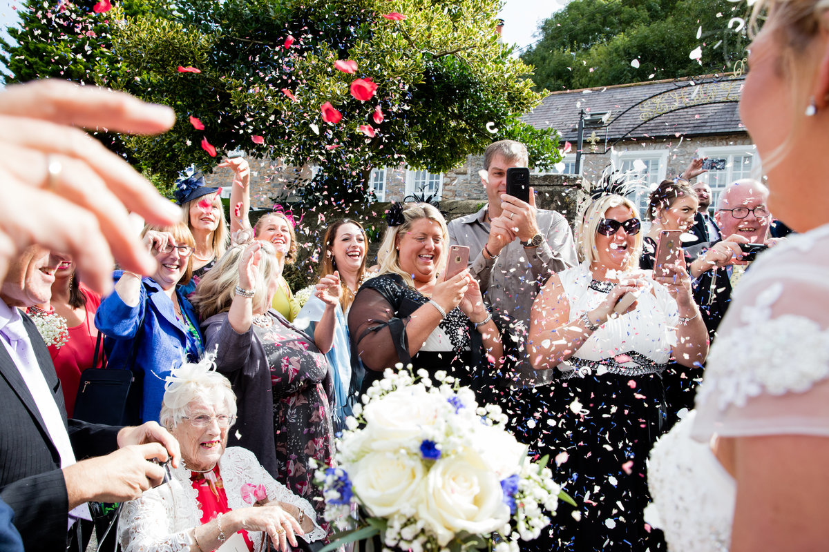 confetti at devon church wedding