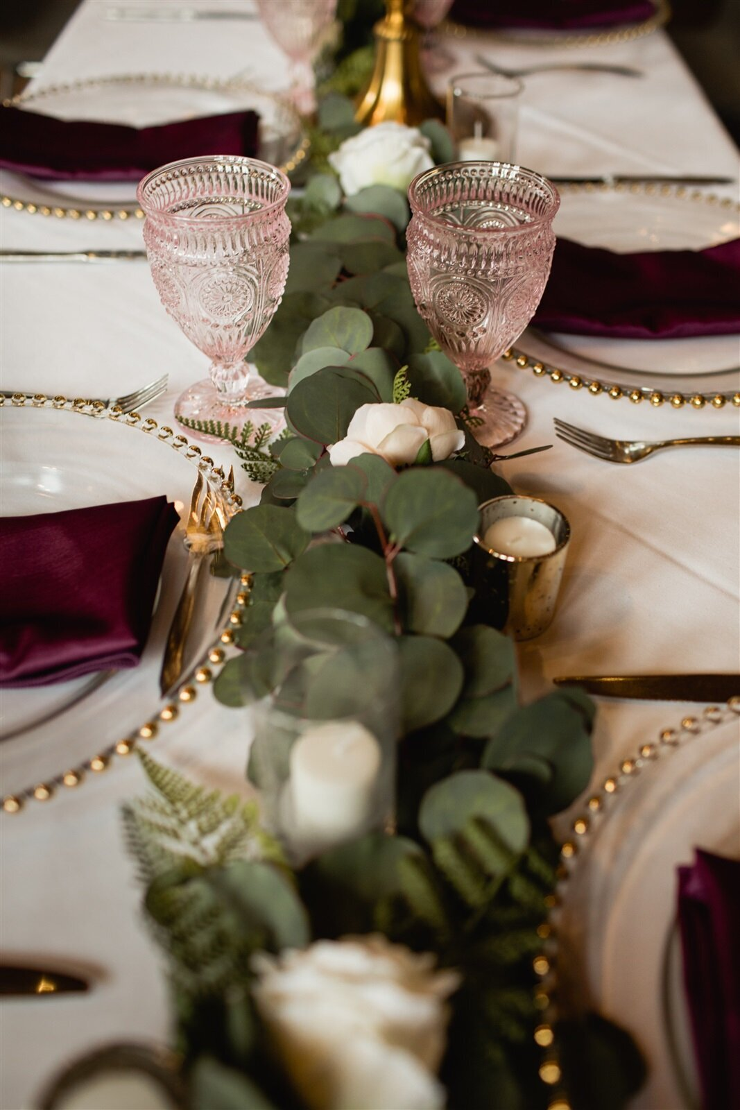 Eucalyptus Table Runner - Banff Wedding Planner