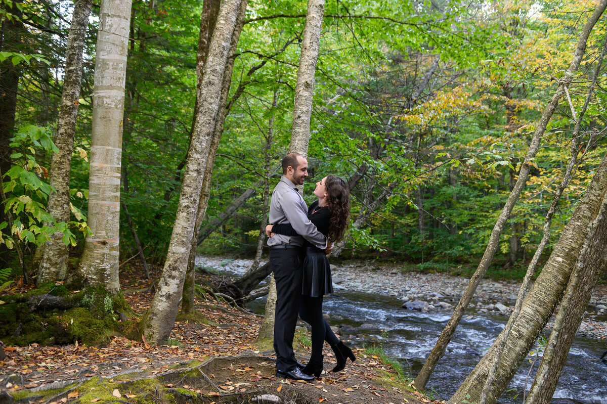 Stowe Vermont engagement photos in the woods