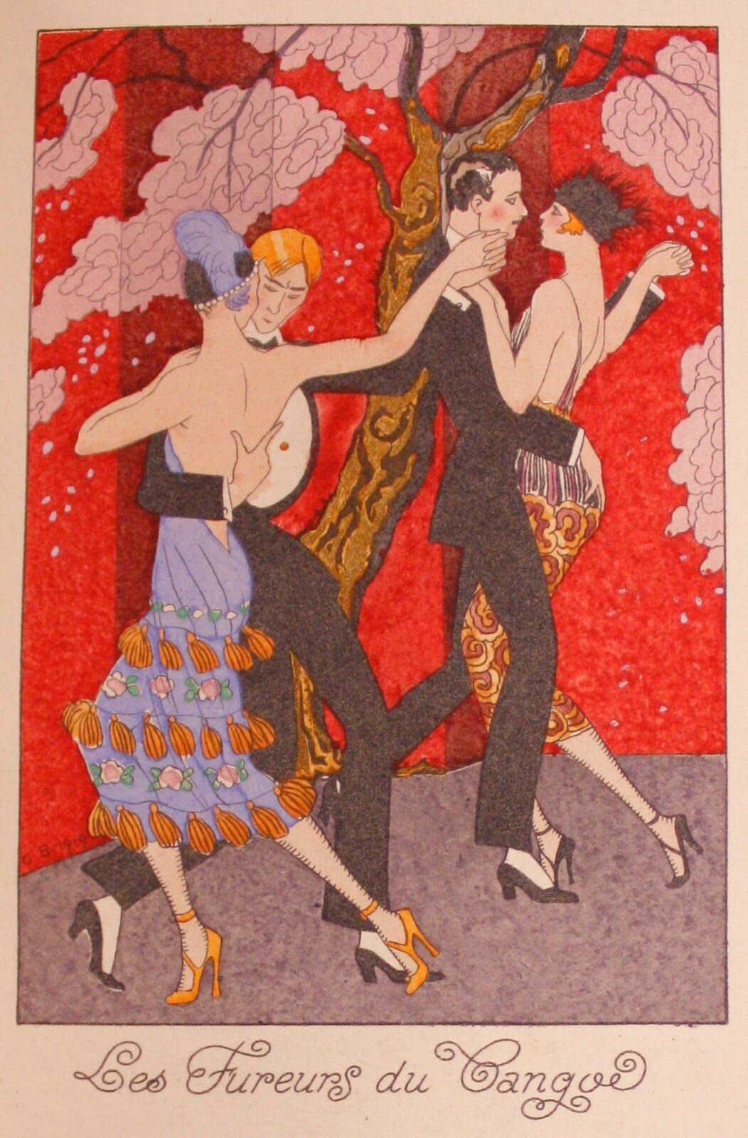 Vintage Art Nouveau _ The Fury of Tango Postcard
