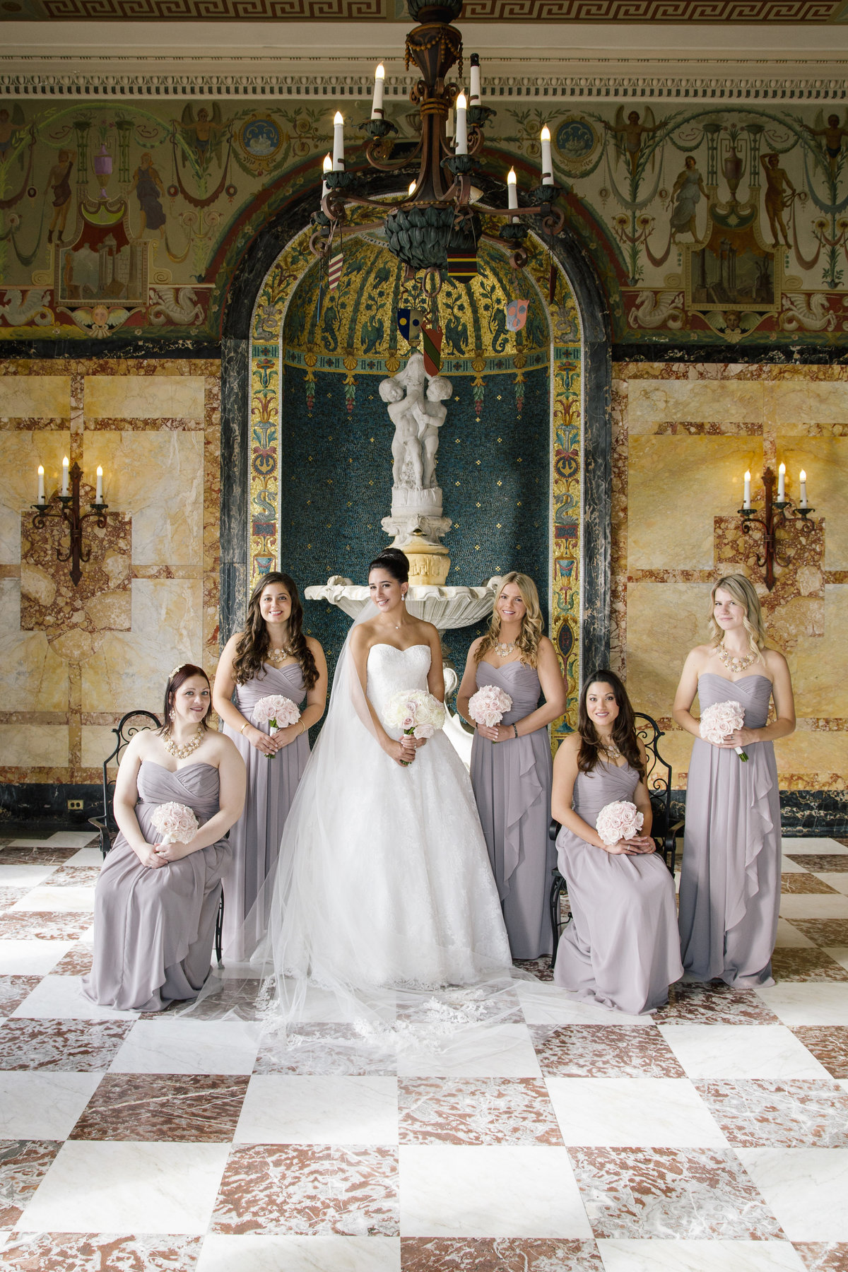 bridesmaids in monmouth university wedding