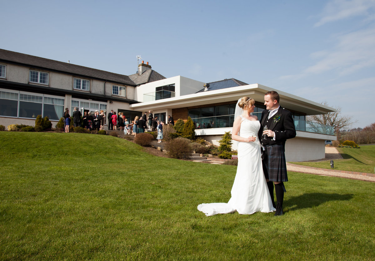Bride and Groom at Lochside House hotel, Ayrshire