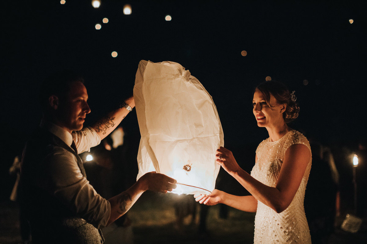 Fairfield IA Wedding Lantern Release