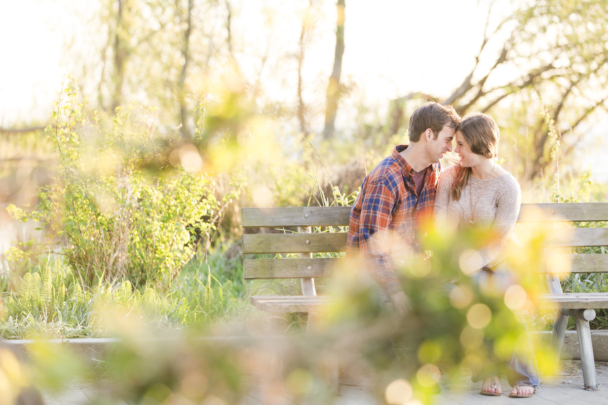 seattle wedding photographer golden gardens bench engagement image