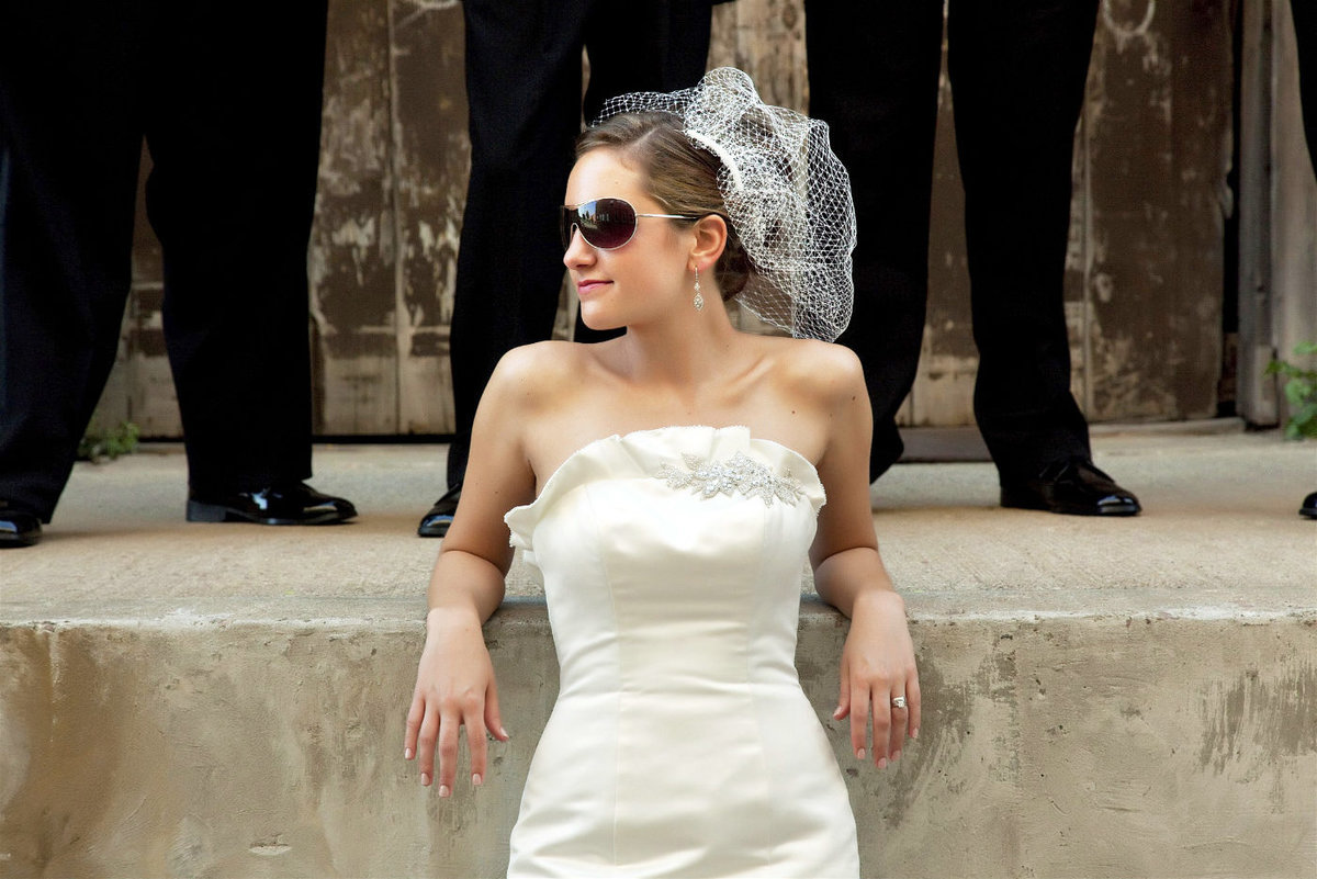 sioux falls wedding photography bride in sunglasses with wedding party south dakota