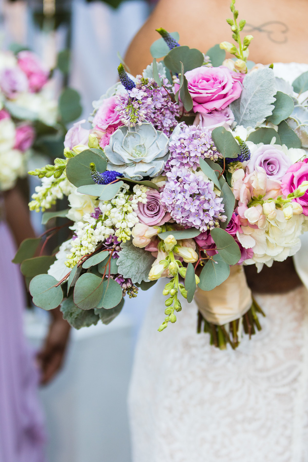 pink, purple, lavender and green bridal bouquet