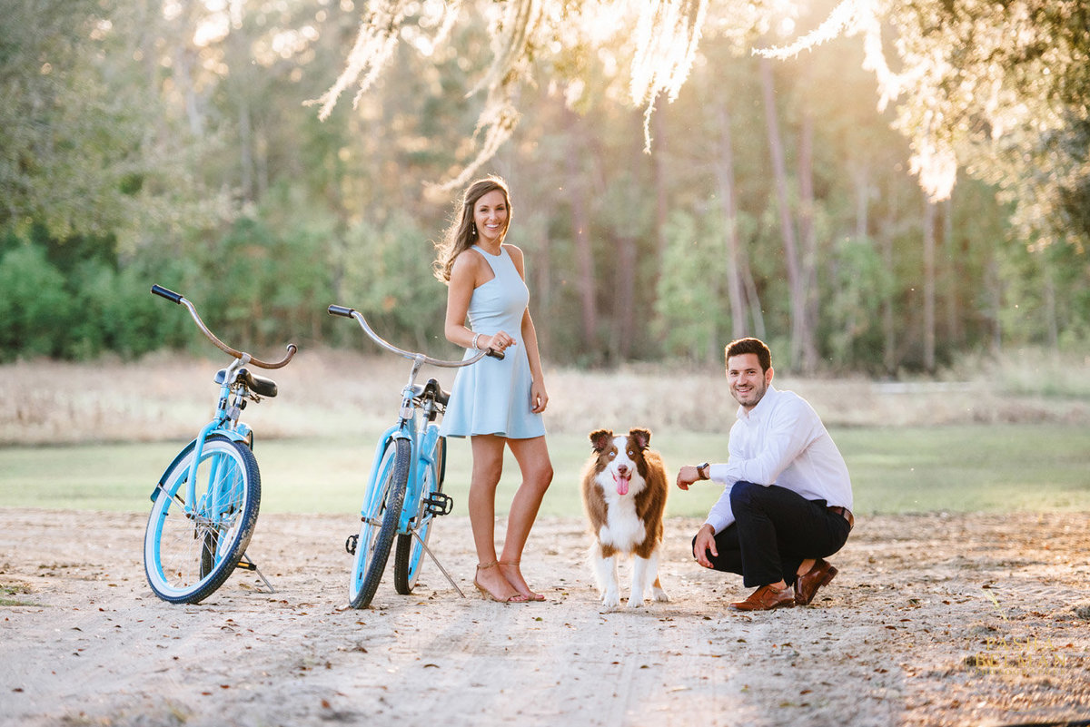 Enangement Picture Ideas with a Dog by Charleston Wedding Photographers at Pasha Belman Photography